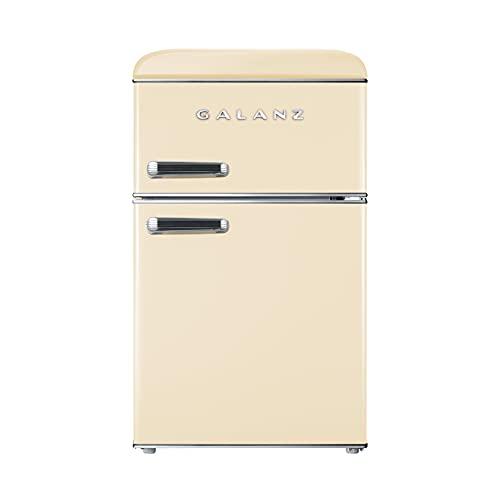 Galanz Retro 86L Mini Fridge Freezer, Free Standing, Standard Small Fridge with Top-Freezer, 48cm Wide, Cream, RFFK003C