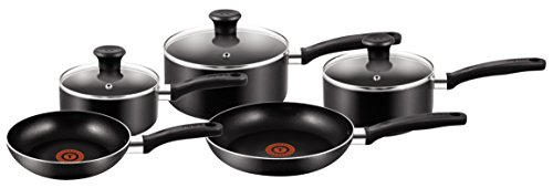Tefal B372S544 5 Piece, Essential, Pots and Pans Set, Black, Aluminium, Non Stick