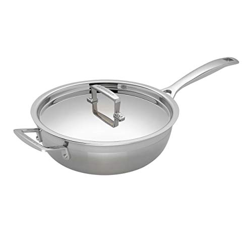 Le Creuset 96201424001000 3-Ply Stainless Steel Non-Stick Chef Pan with Lid, 24 x 8.5 cm , Silver