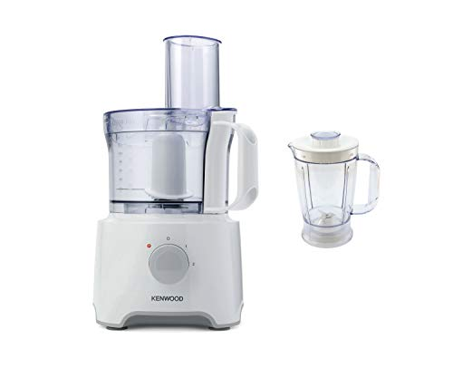 Kenwood Food Processor, 2.1 Litre Bowl, 1.2 Litre Blender, Emulsifying, Knife Blade, Reversible Slicing and Grating Discs, 800 W, FDP301W, White