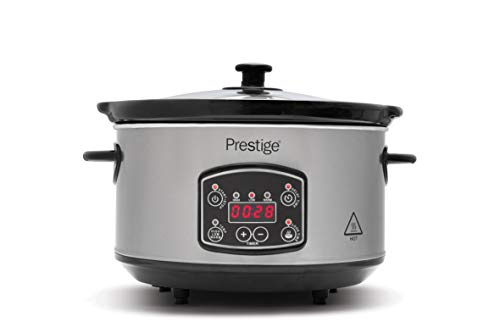 Prestige - Digital Slow Cooker 3.5 Litre - Easy to Use Programmable Timer - 3 Cooking Modes - LCD Display - See Through Glass Lid - 2 Year Guarantee - Grey