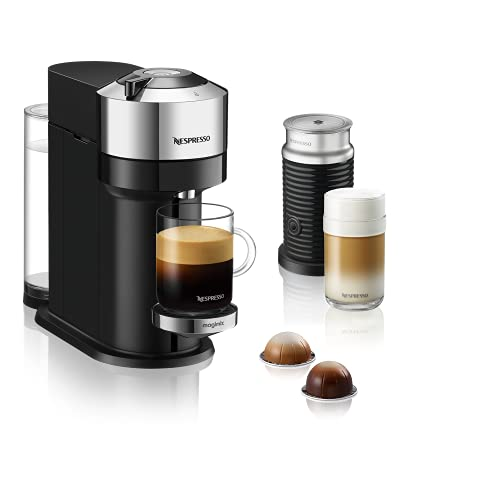 Nespresso Vertuo Next with Aeroccino, by Magimix - Chrome, 11713 - 3 Months of Coffee and an Aeroccino