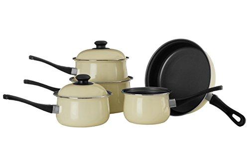 Premier Housewares 204211 Carbon Steel Belly Pan Set, Cream, 5 Piece
