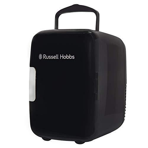 Russell Hobbs Mini Fridge RH4CLR1001B 4L/6 Can Portable Mini Cooler & Warmer for Drinks, Cosmetics/Makeup/Skincare, AC/DC Power, Retro Style, Black, For Bedroom, Home, Caravan, Car