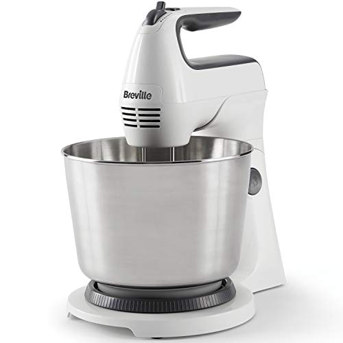 Breville Classic Combo Stand and Hand Mixer, Electric Hand Whisk and Stand Food Mixer, 3.7 Litre Stainless Steel Bowl, Swivel Control, Whisk, Dough Hooks and Beaters [VFM031]