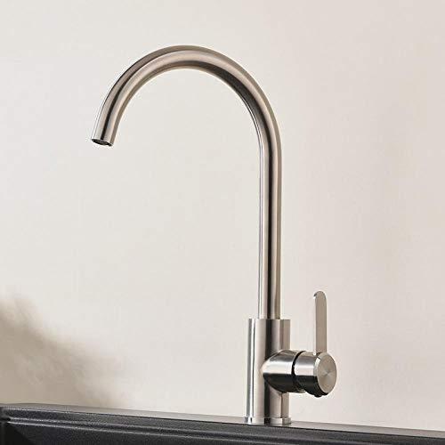 Kitchen Sink Tapstaps304 Stainless Steel Kitchen Faucet Single Handle Brushed Nickel Sink Tap 360 Swivel Kitchen Mixer Aeg