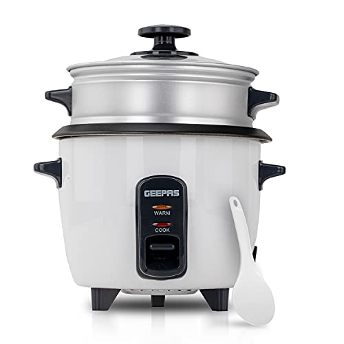 Geepas Rice Cooker & Steamer with Keep Warm Function, 600ML | 350W, Automatic Cooking, Non-Stick Inner Pot | Make Rice & Steam Healthy Food & Vegetables Includes Measuring Cup & Spatula