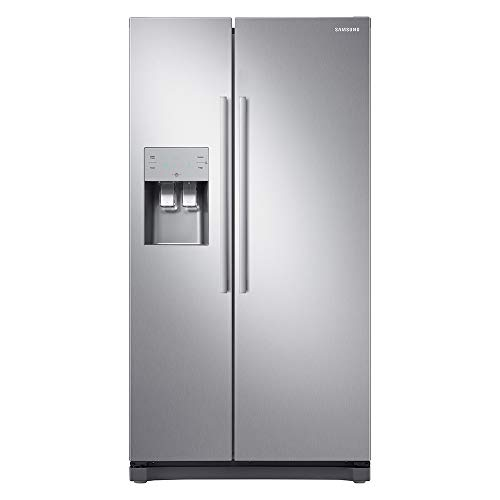 Samsung RS50N3513SL Freestanding American Fridge Freezer with Digital Inverter Technology, Plumbed-In Water and Ice Dispenser, 501 Litre, 91 cm wide, Clean Steel