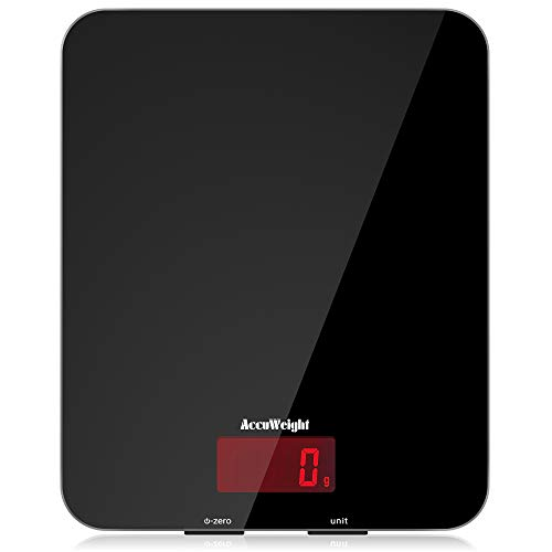 ACCUWEIGHT Digital Kitchen Scales Food Scale with Tempered Glass Platform Electronic Cooking Scale with Backlit LCD Display Multifunctional Scale for Home Office Use, 5kg,11lb