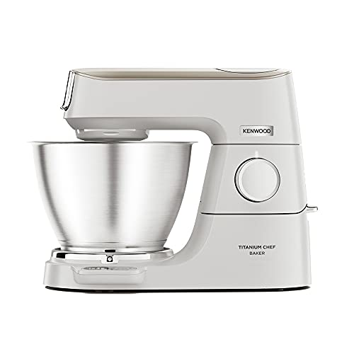 Kenwood Titanium Chef Baker XL, Kitchen Machine with K-Whisk, Stand Mixer with Kneading Hook, Whisk and 5L Bowl, KVC65.001WH, Power 1400W, White