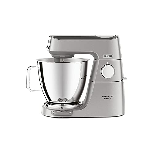 Kenwood Titanium Chef Baker XL, Kitchen Machine with K-Whisk, Stand Mixer with Kneading Hook, Whisk and 6,7L Bowl, KVL85.004SI Power 1400W, Silver