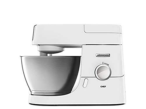 Kenwood Chef KVC3103W - Stylish Food Mixer in White with K-beater, Dough Hook, Whisk and 2 x 4.6 Litre Bowls 1 Stainless Steel and 1 Glass, 1000 W, White