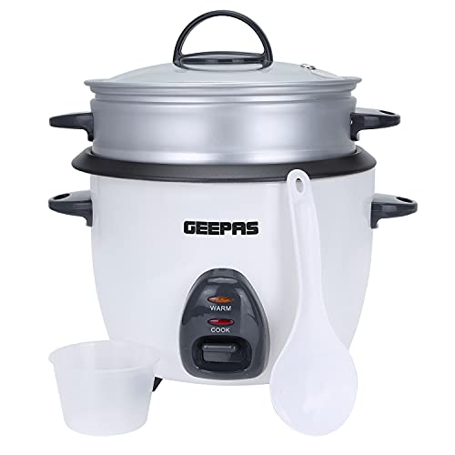 Geepas Rice Cooker & Steamer with Keep Warm Function, 1L | 400W, Automatic Cooking, Non-Stick Inner Pot | Make Rice & Steam Healthy Food & Vegetables Includes Measuring Cup & Spatula