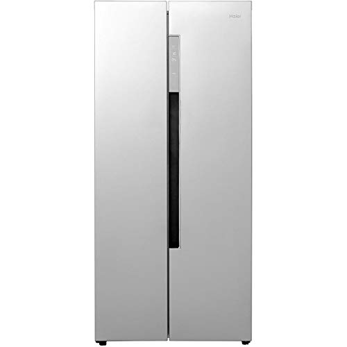 Haier HRF-450DS6 Freestanding American Side by Side Fridge Freezer, 452L Total Capacity, 83cm wide, Silver
