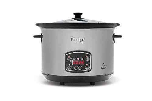 Prestige - Digital Slow Cooker 5.5 Litre - Easy to Use Programmable Timer - 3 Cooking Modes - LCD Display - See Through Glass Lid - 2 Year Guarantee - Grey