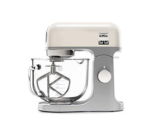 Kenwood kMix Stand Mixer for Baking, Stylish Kitchen Mixer with K-beater, Dough Hook and Whisk, 5L Glass Bowl, Removable Splash Guard, 1000 W, Cream