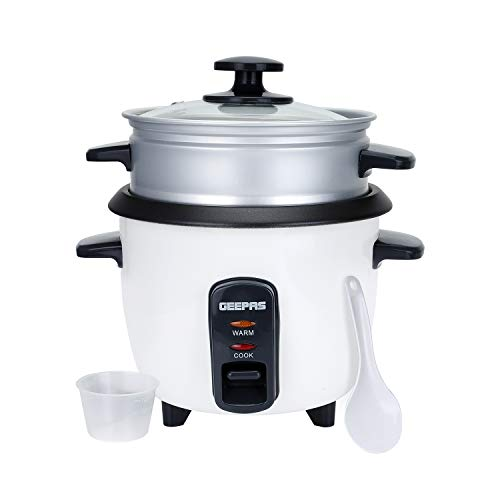 Geepas 0.6L Rice Cooker with Steamer | 350W | Non-Stick Inner Pot, Automatic Cooking, Easy Cleaning, High-Temperature Protection - Make Rice & Steam Healthy Food & Vegetables - 2 Years Warranty