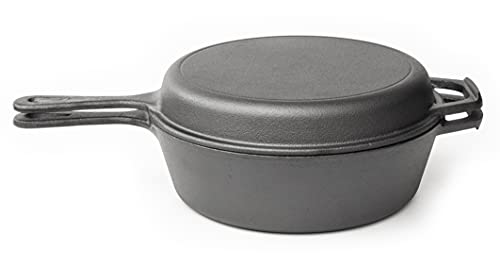 Pre Seasoned Dutch Oven Pot - Cast Iron Frying Pan Griddle - 2in1 Combo Cooker Skillet Lid – 3.2 Quart Dutch Oven, 10.25 inch Skillet - by Nuovva