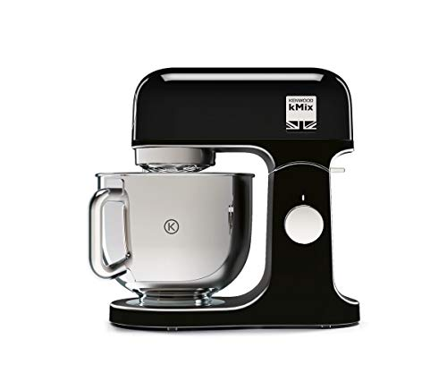 Kenwood KMix KMX75AB Kitchen Robot, 1000 W, 5 L Bowl with Handle, Includes: Kneading Hook, Rods, K Blender, Stainless Steel, 6 Speed, Black and Silver