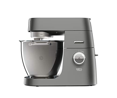 Kenwood Chef Titanium XL Stand Mixer for Baking - Powerful and Stylish Kitchen Machine in Silver, with K-beater, Dough Hook, Whisk and 6.7 L Bowl, KVC8300S, Silver