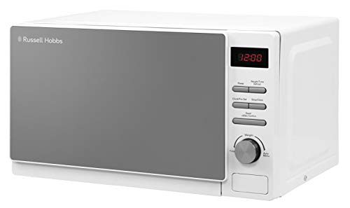 Russell Hobbs RHM2079A 20 L 800 W White Digital Solo Microwave with 5 Power Levels, Automatic Defrost, 8 Auto Cook Menus, Clock & Timer, Easy Clean