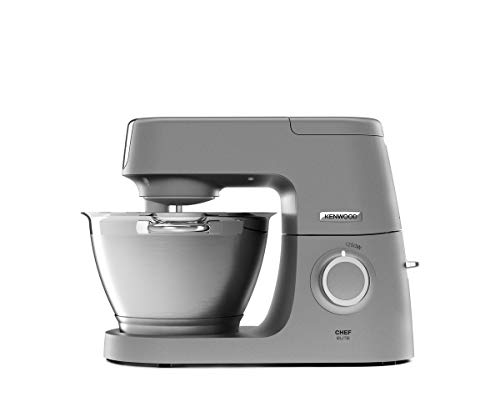 Kenwood Chef Elite Stand Mixer for Baking - Powerful Food Mixer in Silver, with K-Beater, Dough Hook, Whisk and 4.6 Litre Bowl, 1200 W, KVC5100, Silver