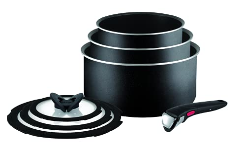 Tefal Ingenio Essential Non-Stick Pots and Pans Set, 7-Piece, Saucepan Set, Compatible with all Hobs Excluding Induction, Black, with Red or Black Button, L2009042