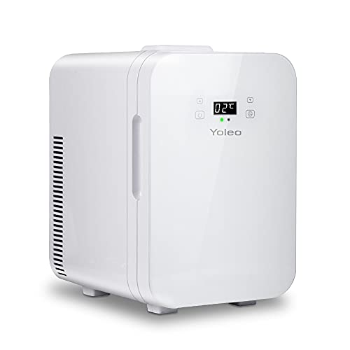 Yoleo Mini Fridge Quiet 25 dB 10 L for Bedroom Home Car Travel Caravan Office| Temperature Screen Portable Compact Small Fridge 12/220V AC+DC Power for Skincare Cosmetics, Drinks