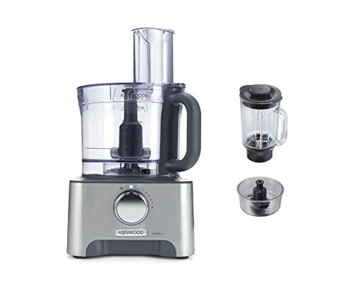 Kenwood MultiPro Classic Food Processor, 3 Litre Bowl, 1.5 Litre Thermo-resist Glass Blender, Dough Hook, Whisk, Reversible Slicing and Grating Discs 1000 W, FDM781BA, Silver