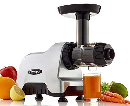 Omega CNC80S Compact Slow Speed Multi-Purpose Nutrition System Juicer with Quiet Motor Creates Continuous Fresh Healthy Fruit and Vegetable Juice at 80 RPM, Plastic, Silver