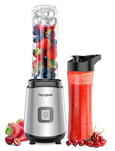 homgeek Blender Smoothie Maker, Personal Blender with 2x600ml BPA Free Portable Bottles for Ice, Milkshake, Fruit and Vegetable, Home/Outdoors, Silver
