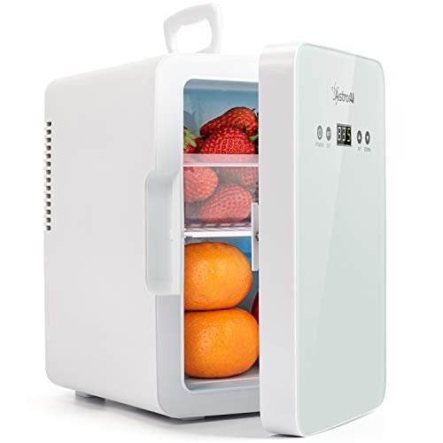 AstroAI Mini Fridge 6 Litre/8 Can Skincare Fridge for Bedroom - With Upgraded Temperature Control Panel - AC/12V DC Thermoelectric Portable Cooler and Warme