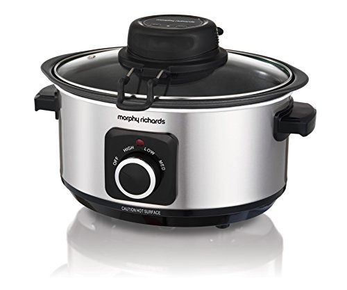 Morphy Richards 460009 Sear, Stew and Stir Slow Cooker Integrated Auto Stirrer, Aluminium, 163 W, 3.5 liters, Silver