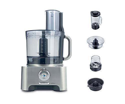 Kenwood Multi-Pro Excel Food Processor, 4 Litre Bowl, 1.6 Litre Thermo-resist Glass Blender, 6 Attachments, 7 Slicing and Grating Plates, Built in Weighing Scale, 1300 W, FPM910, Silver