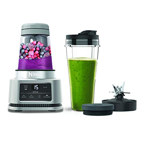 Ninja Foodi Power Nutri Blender [CB100UK] 2-in-1 Blender, Auto-iQ, Smart Motor, 700ml Cup & 400ml Bowl, 1100W silver