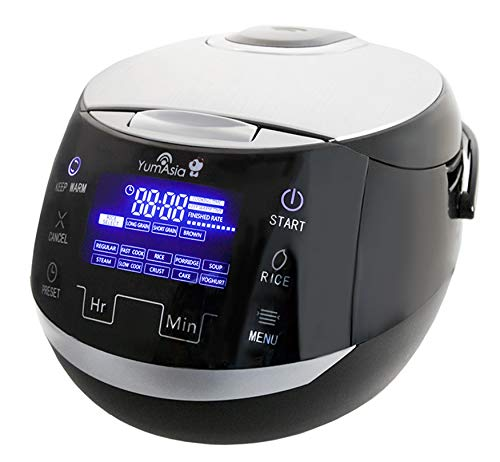 Yum Asia Sakura Rice Cooker with Ceramic Bowl and Advanced Fuzzy Logic (8 Cup, 1.5 Litre) 6 Rice Cook Functions, 6 Multicook Functions, Motouch LED Display, 220-240V UK/EU Power (Black and Silver)