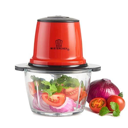 MisterChef® Red Mini Chopper Mini Food Processor 3 bi-Level Blades - Energy Saver 200W with Turbo - 1.5L Food Capacity Glass Bowl - 2 Year Warranty - Metallic Red