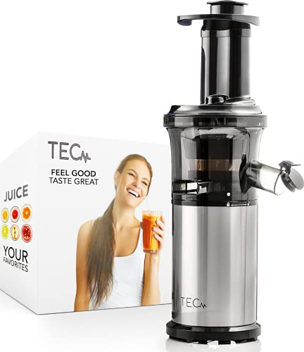 TEC Slow Masticating Juicer - Portable, Compact, Lightweight; Easy to Set Up and Clean; Plus a Powerful, Quiet 200 W Motor; Includes 99.99% Pulp Free Strainer