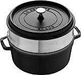 STAUB Cast Iron Roaster/Cocotte, With Steam Insert, Round 26 cm, 5.2 L, With Matte Black Enamel Inside the Pot, Black