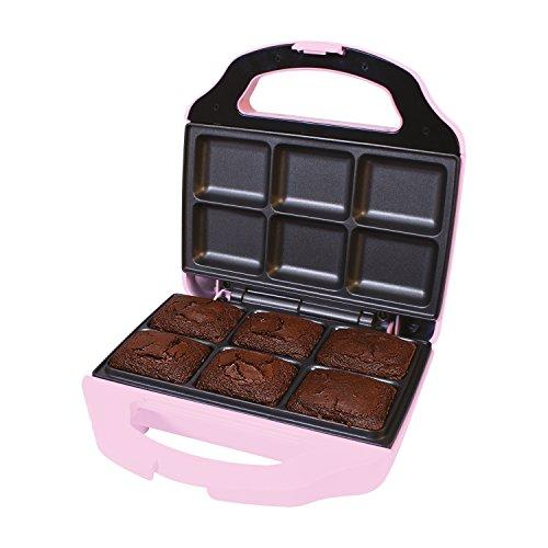Global Gizmos Mini Brownie Maker ~ 700w, Non-Stick ~ Pink ~ 51390