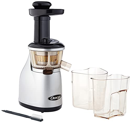 Omega VRT350 Heavy Duty Dual-Stage Vertical Single Auger Low Speed Juicer Silver