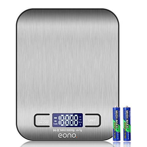 Amazon Brand - Eono Digital Kitchen Scale, Premium Stainless Steel Food Scales Weight Grams and Oz for Baking and Cooking 5KG/1g