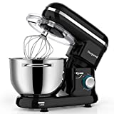 Vospeed Food Stand Mixer Dough Blender, 6 QT 1500W Electric Cake Mixer with Bowl, Beater, Hook, Whisk, Egg Separator & Silicone Spatula, Dishwasher Safe (Black)