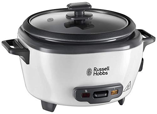 Russell Hobbs 27030 Medium Rice Cooker - Serves Up to Six, Steamer Basket, Measuring Cup and Spoon Included, 300 W, White