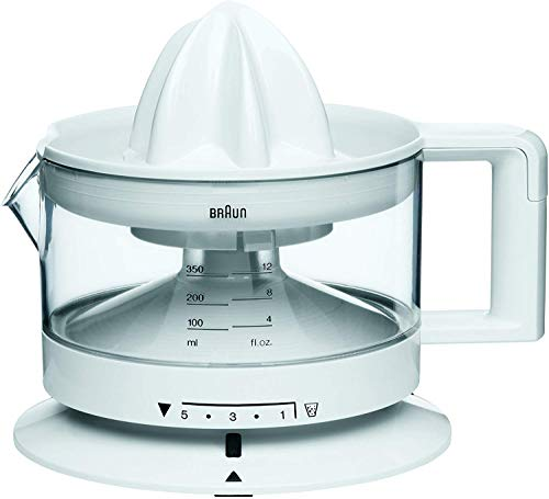 Braun CJ3000 Electric Citrus Press, 350 ml bowl with scale, adjustable pulp control, automatic start/stop, cable storage - White