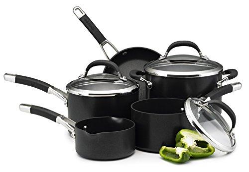 Circulon Premier Professional Saucepan and Frypan Set of 5 – Non-Stick-Glass lids-Hard Anodized Aluminium Cookware – Induction, Oven and Dishwasher Safe, Aluminum, Black, 5 Piece Set
