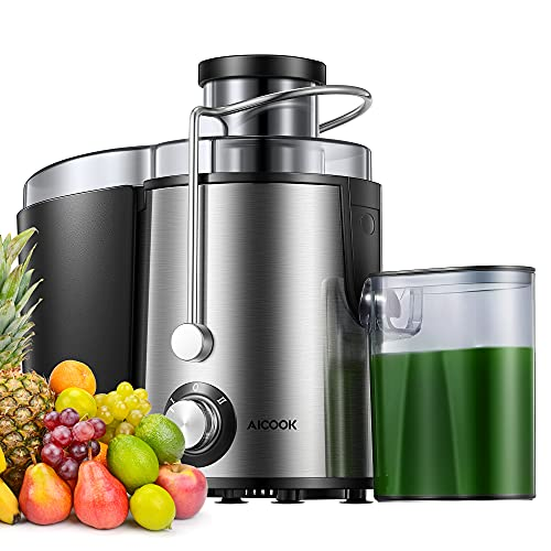 Juicer, AICOOK Juicer Machine with Wide Feed Chute for Whole Vegetable and Fruit, Easy to Clean & Non-Drip Function, Stainless Steel Juicer Extractor with 2 Speed Mode, Recipe & BPA-Free