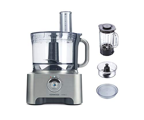 Kenwood MultiPro Sense Food Processor, 3.5 Litre Bowl, 1.6 Litre Thermo-resist Glass Blender, 4 attachments, 5 Slicing and Grating Plates, Built in Weighing Scale, 1000 W, FPM810, Silver