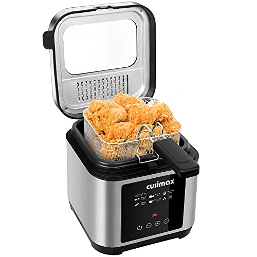 CUSIMAX 2.5L Deep Fat Fryer, 1200W Touchscreen Compact Deep Fryer with Timer and Temperature Control, Stainless Steel Basket and Viewing Window, Removable Lid, Non-Stick Oil Tank, Silver+Black