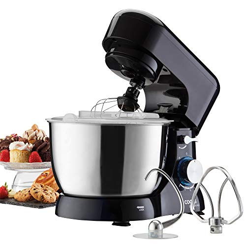 Cooks Professional Electric Compact Stand Mixer Whisker Beater 4.5 Litre Bowl 1000W with 3 Mixing Attachments and Pulse Function (Black)
